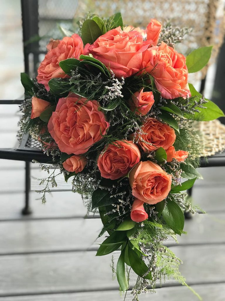 cascade bridal bouquet, wedding bouquet, wild spirit roses