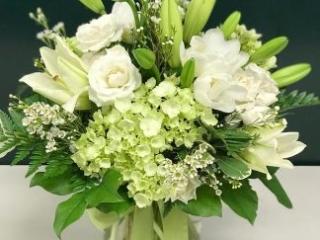 bereavement, church, sympathy, hydrangea, tulip, spray rose, lily