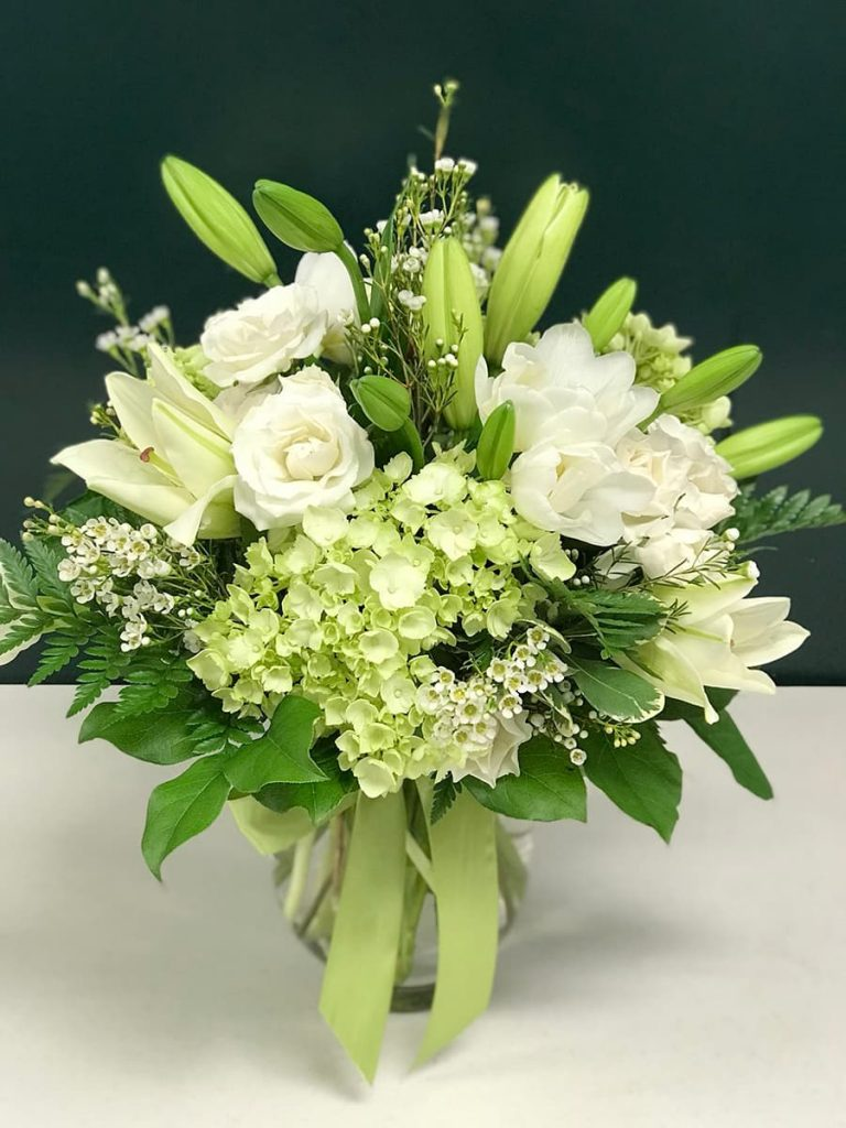 bereavement, church, sympathy, hydrangea, tulip, spray rose, lily