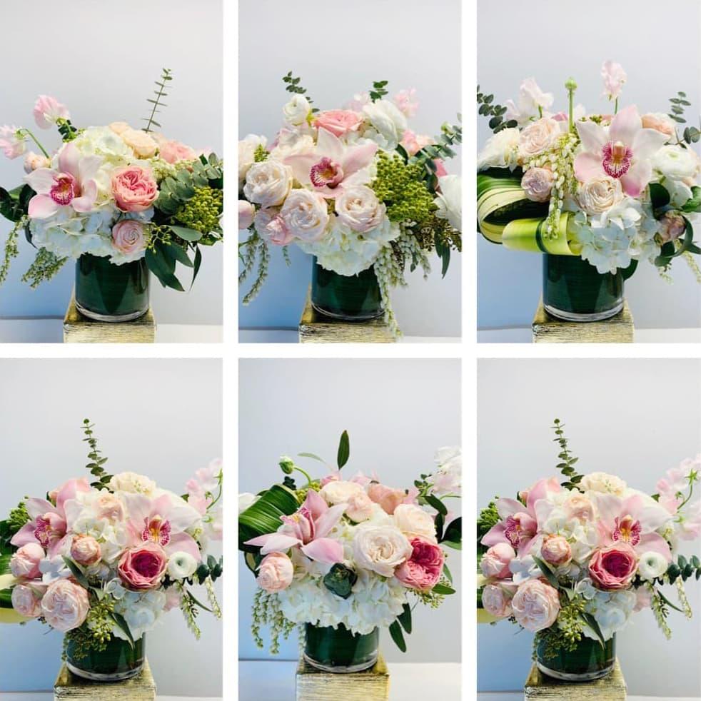 orchid, bombastic, rose, hydrangea, sweet pea