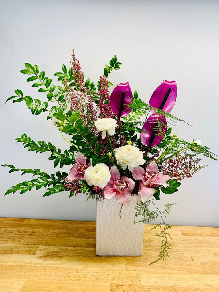 wedding, anniversary, ranunculus, anthurium, orchid, cymbidium, heather