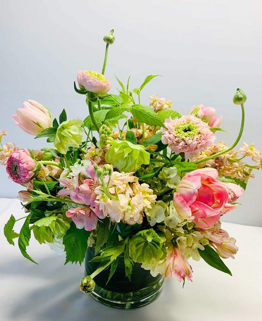 congratulation, congrats, ranunculus pom pom, tulip, stocks, hellebores