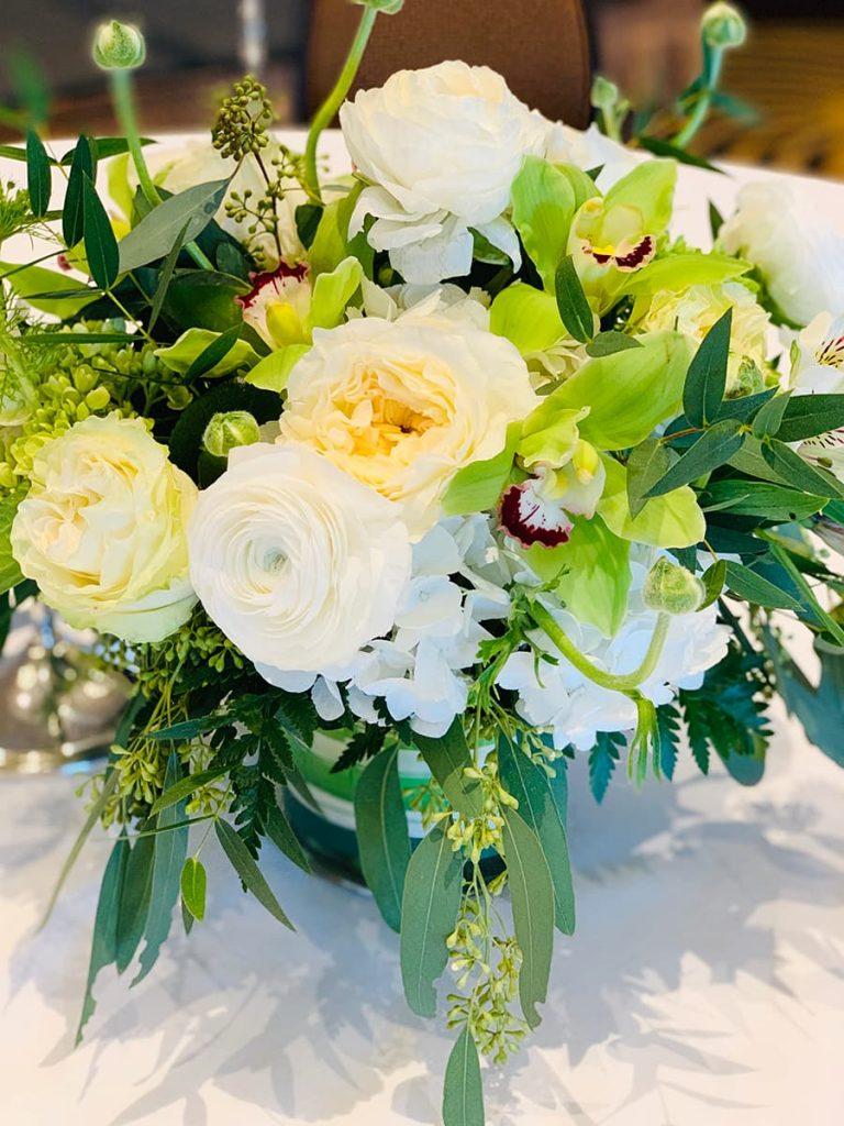 Wedding, anniversary, garden rose, ranunculus, rose, hydrangea, orchid, cymbidium, alstromeria