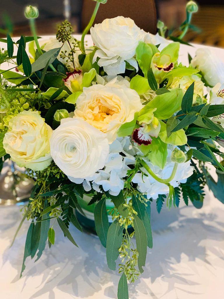 wedding, anniversary, congratulation, garden rose, rose, orchid, cymbidium, ranunculus, hydrangea, alstroemeria