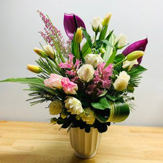 Anthurium, helleborus, sweetheart rose, tulip, hyacinth, heather