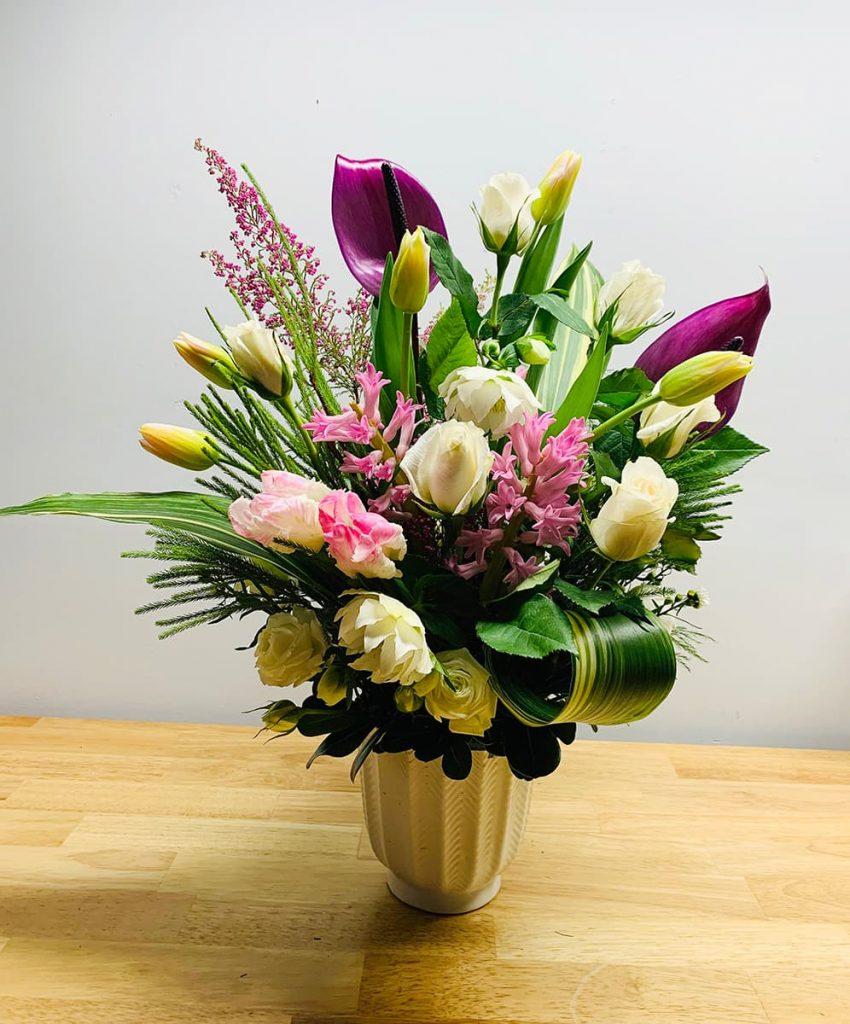 wedding, congrats, anniversary, anthurium, laceleaf, rose, tulip, helleborus, hyacinth, heather, sweetheart rose