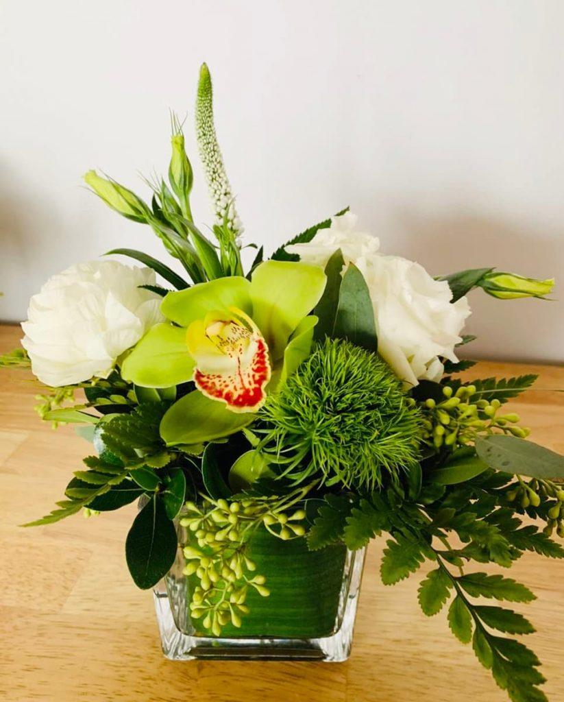 orchid, lisianthus, dianthus