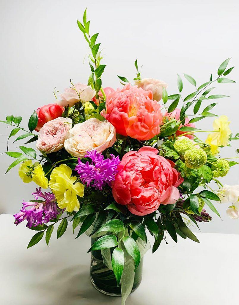 birthday, happy birthday, peony, garden rose, ranunculus butterfly, hyacinth, viburnum, sweet pea
