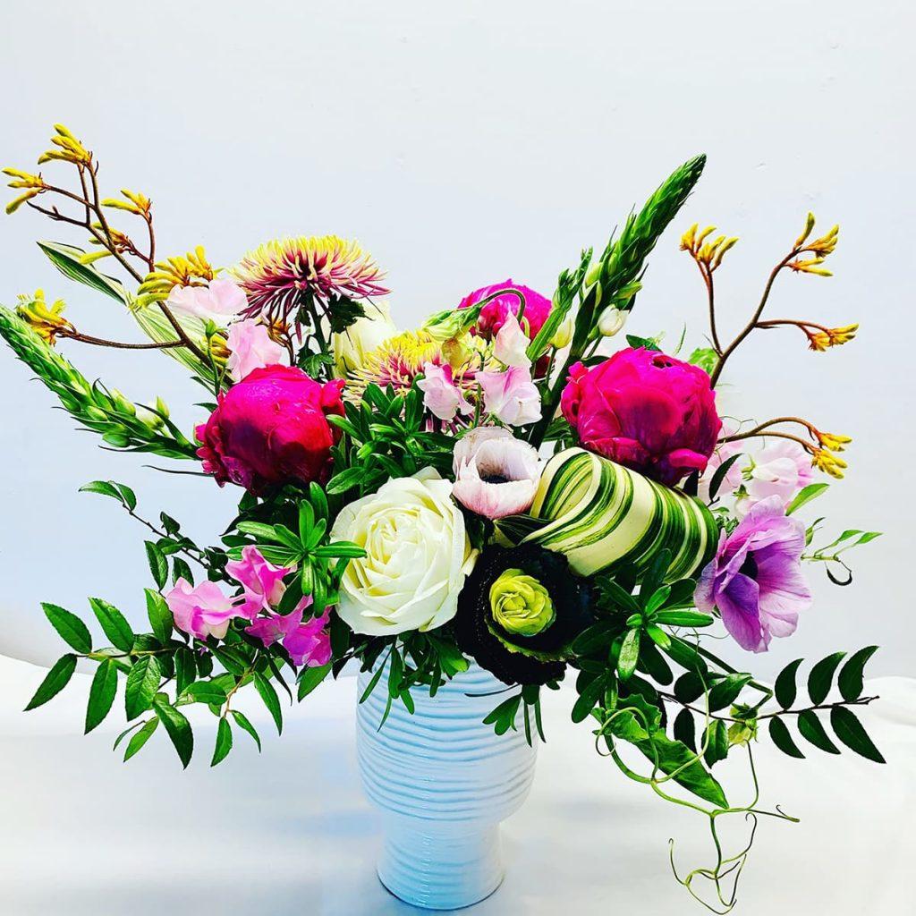 wedding, anniversary, peony, ranunculus, sweet pea, anemone, disbud, star of bethlehem, kangaroo paw