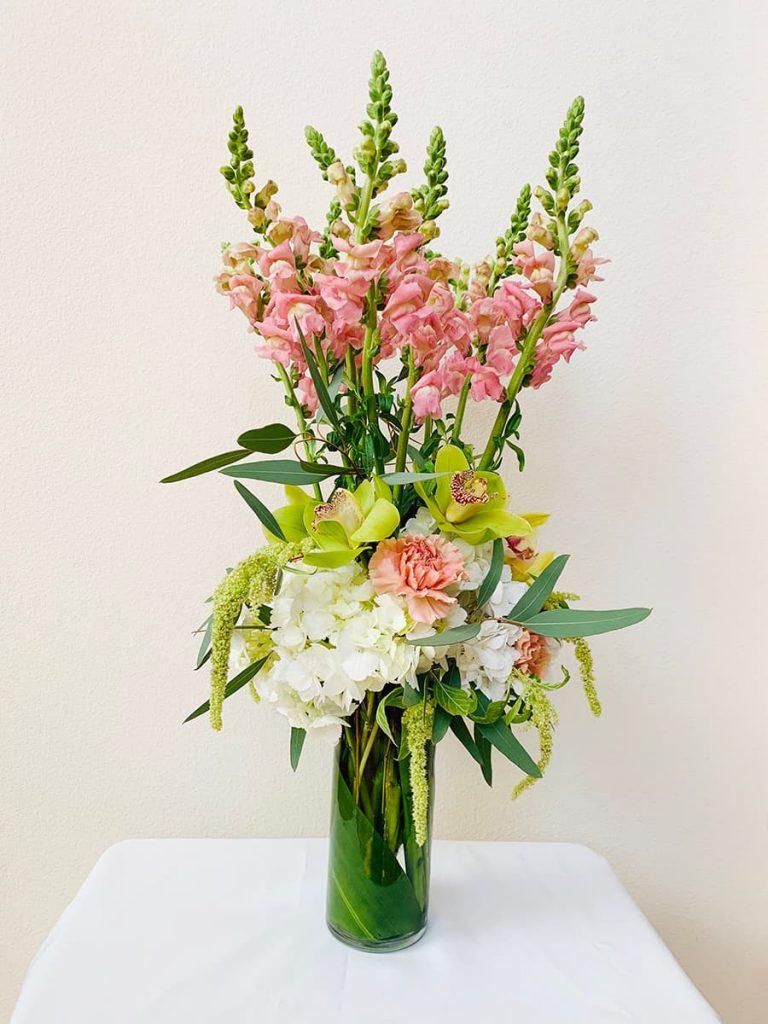 holiday, snapdragon, hydrangea, orchid, cymbidium, amaranthus, carnation