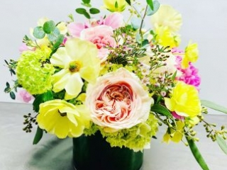 birthday, happy birthday, rose, ranunculus butterfly, viburnum, cymbidium, orchid, peony, hydrangea