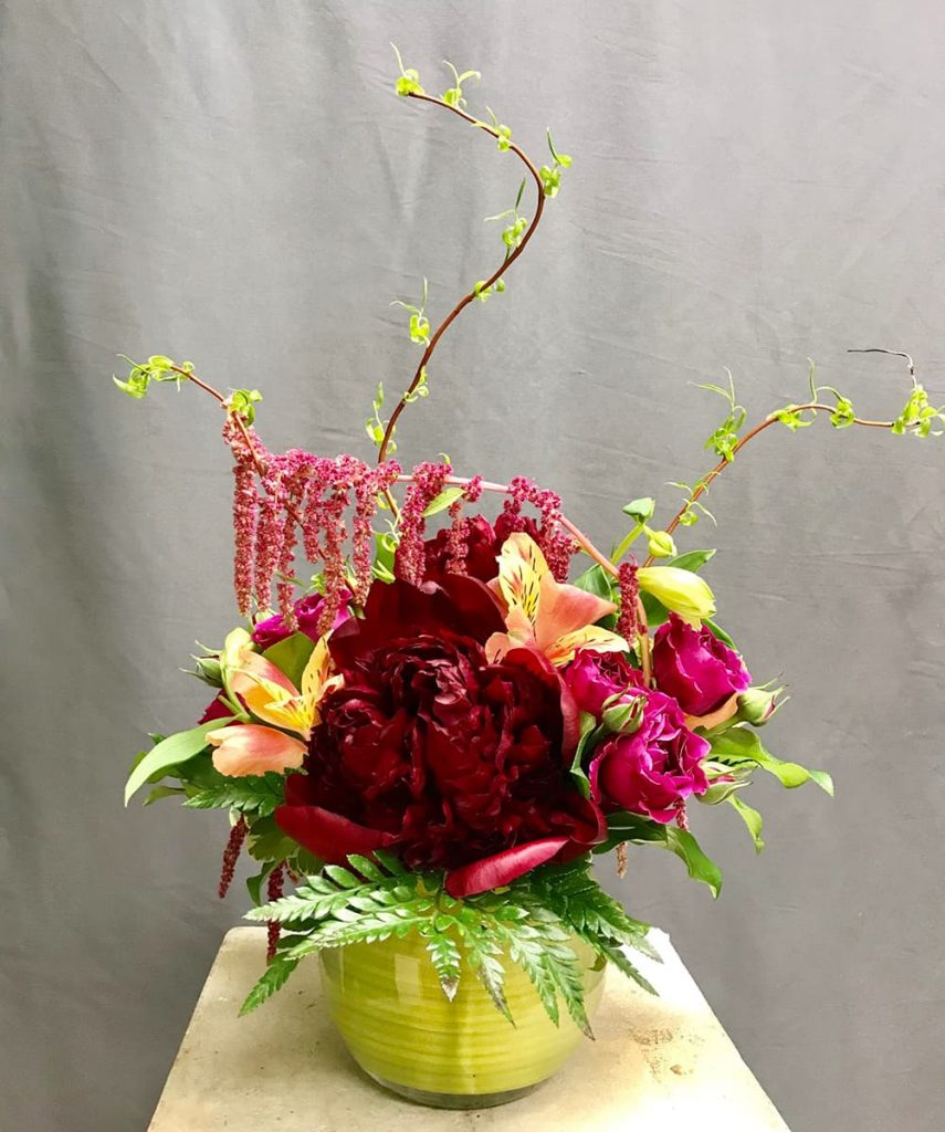 holiday, peony, rose, alstroemeria, amaranthus