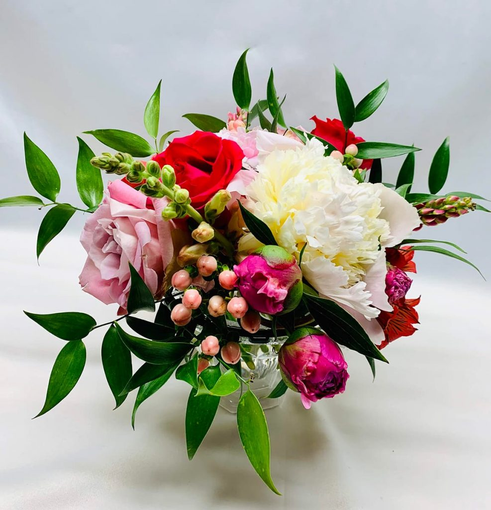 peony, rose, snapdragon, alstroemeria