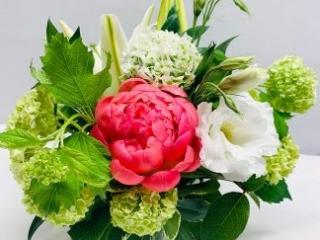 congrats, congratulations, peony, lisianthus, ranunculus pom pom, lily, viburnum