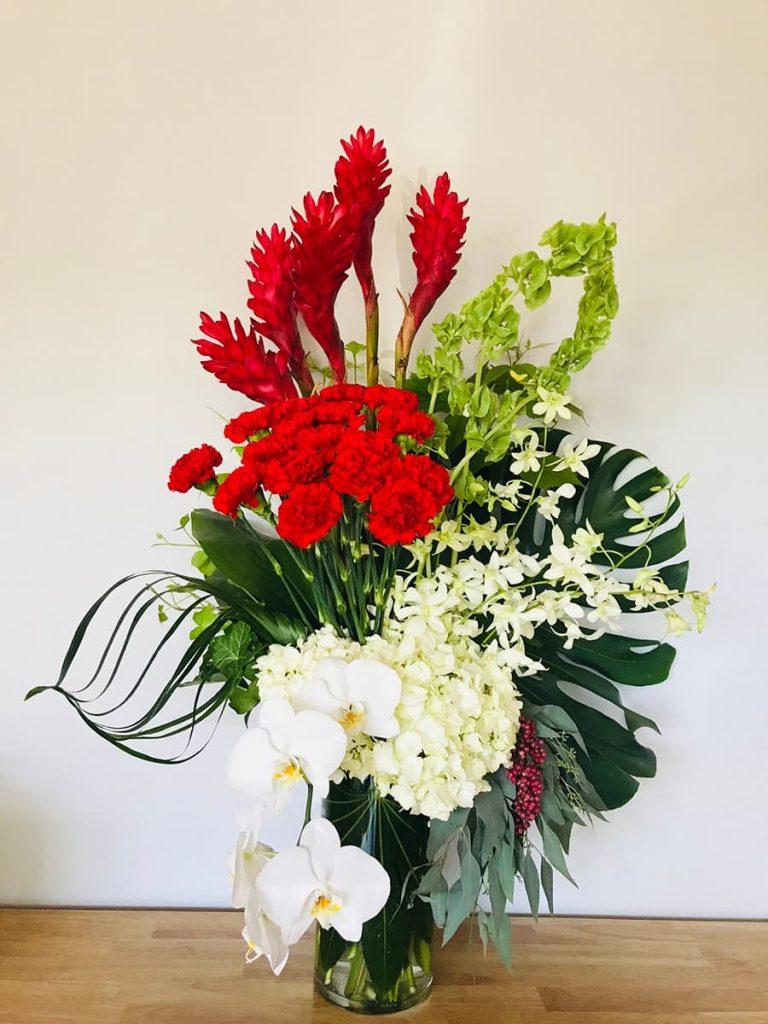 wedding, anniversary, congratulation, dendrobium, orchid, phalaenopsis, carnation, hydrangea, ginger, bell of ireland