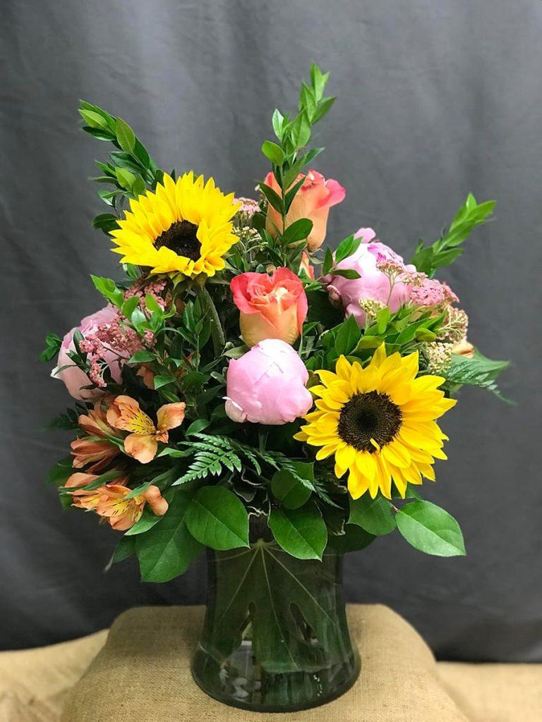 Strength, bereavement, sunflower, peony, rose, alstroemeria, yarrow