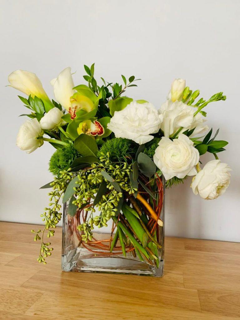 housewarming, new house, congrats, ranunculus, lisianthus, freesia, calla lily, orchid, cymbidium