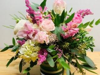birthday, happy birthday, rose, tulip, orchid, cymbidium, heather, rice flowers, hyacinth, hydrangea