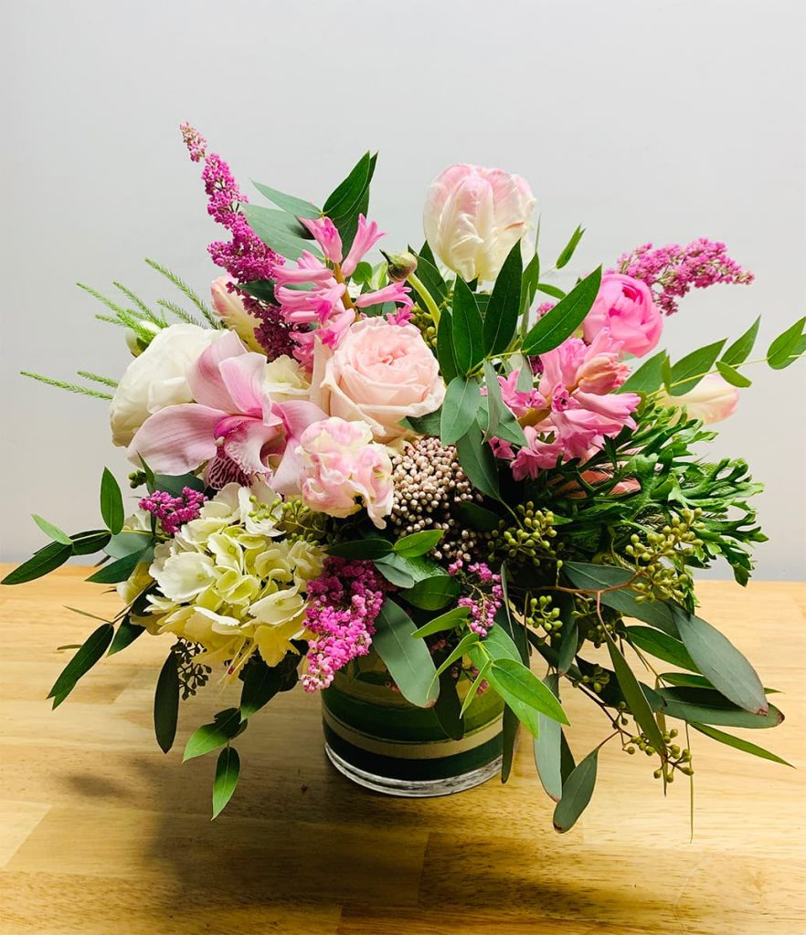 birthday, happy birthday, rose, tulip, orchid, cymbidium, heather, rice flowers, hyacinth, hydrangea