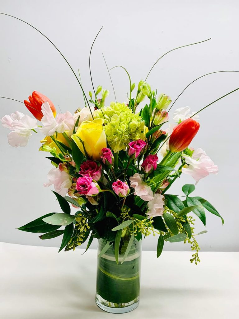congrats, congratulation, celebrate, rose, spray rose, tulip, sweet peas, alstroemeria, mini greens