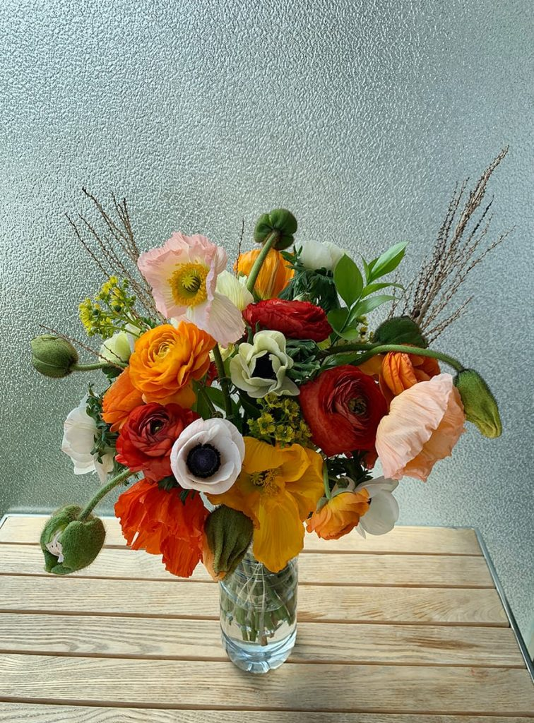 birthday, celebration, celebrate, poppy, ranunculus, anemone