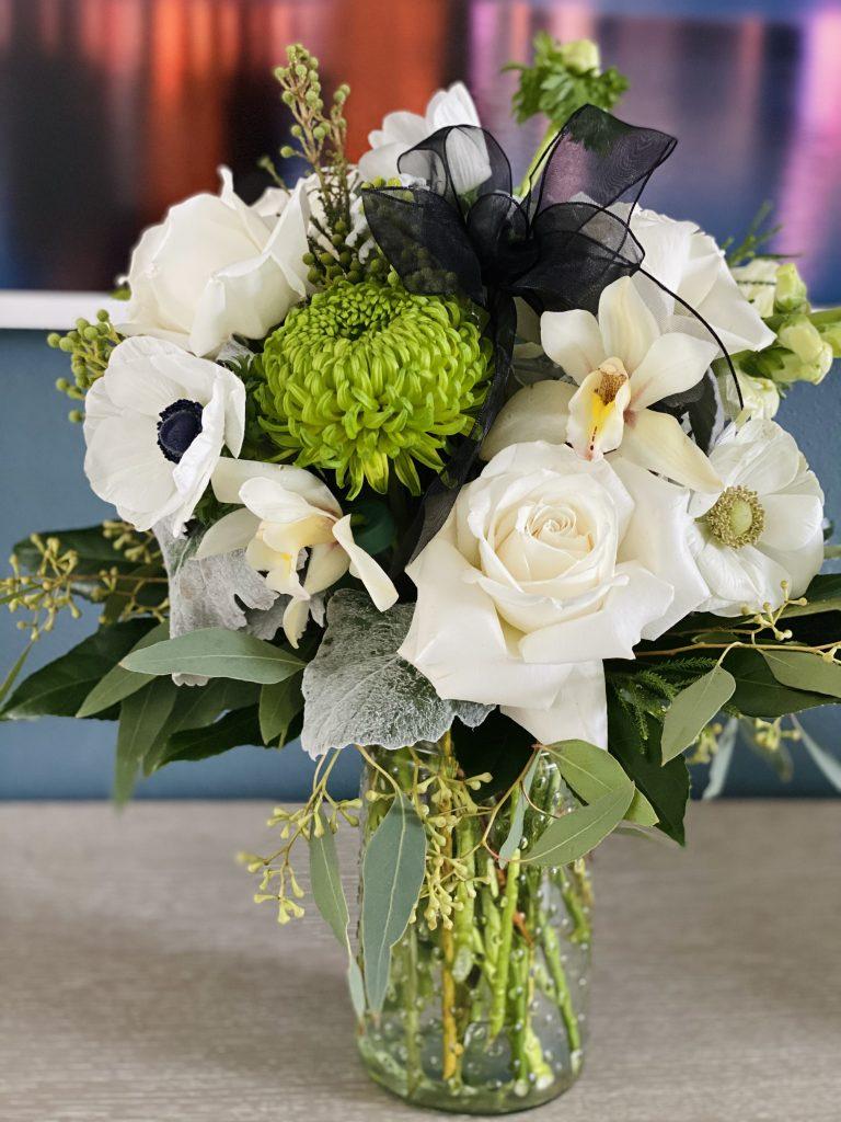 flowers gift, sympathy, modern, orchid, spider disbud, anemones, roses, playa blanca, snapdragon