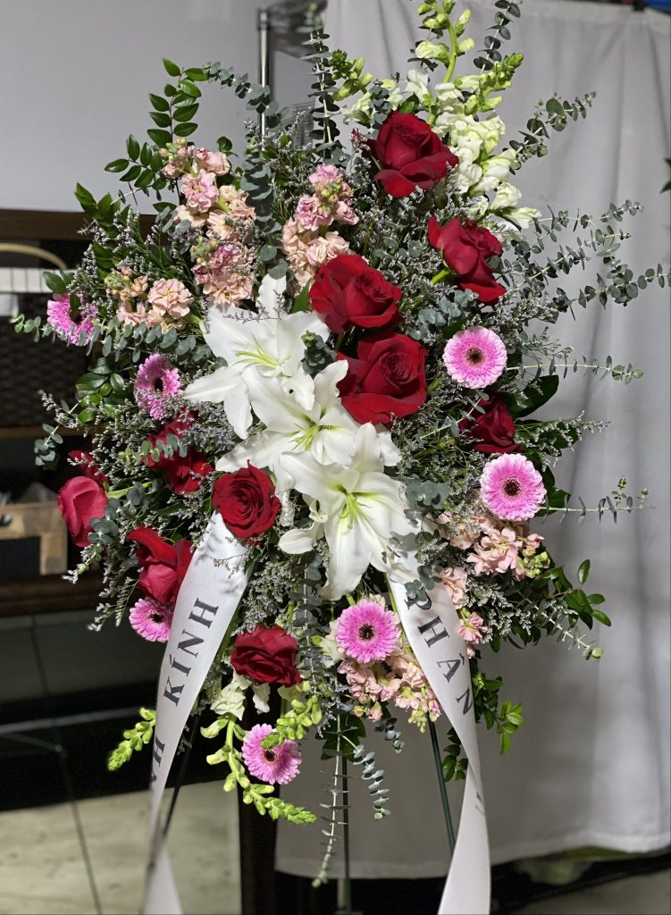 sympathy, standing easel, funeral flowers