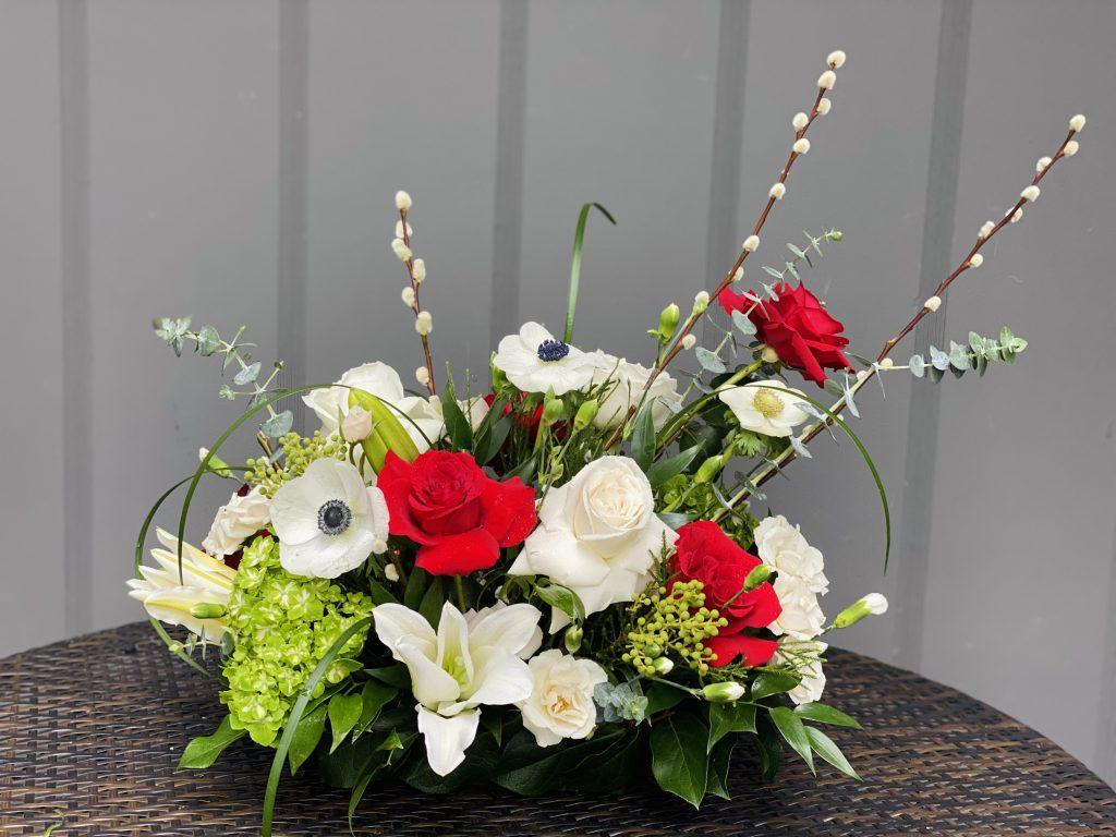 flower gift, rose, anemone, lily, spray rose