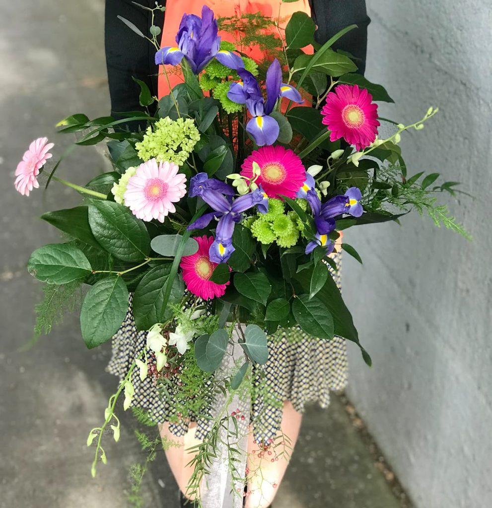 bouquet, hand tied, iris, gerbera, mini green, mums, orchid, dendrobium