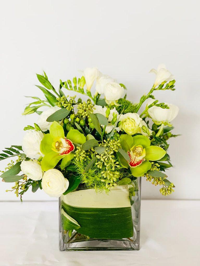 Housewarming, new house, freesia, orchid, cymbidium, ranunculus, lisianthus