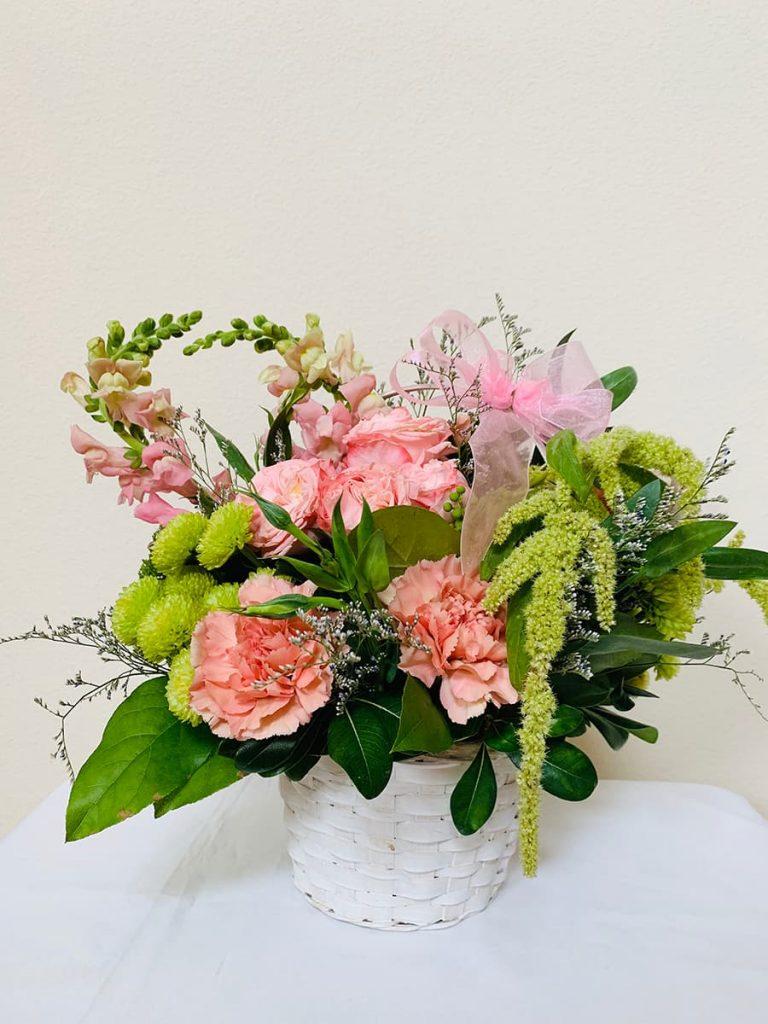 bereavement, basket, bombastic, carnation, amaranthus, snapdragon, mums