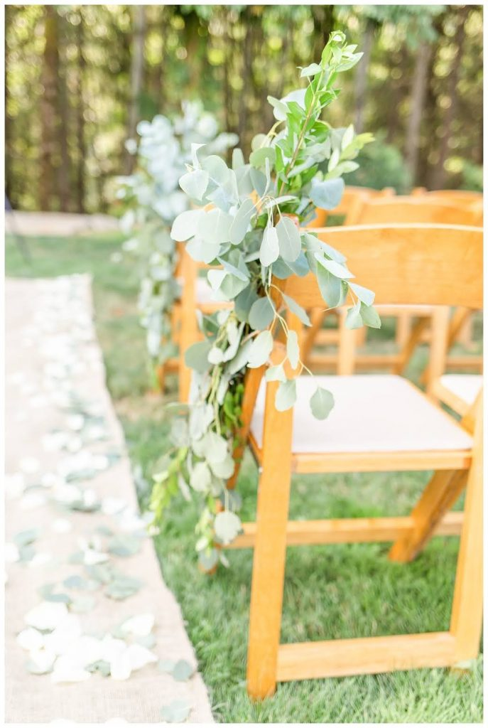 ceremony, outdoor wedding, backyard wedding, pew decor, swag