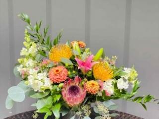XOXO, protea, pin cushion, zinia, snapdragon, lily, norah vase