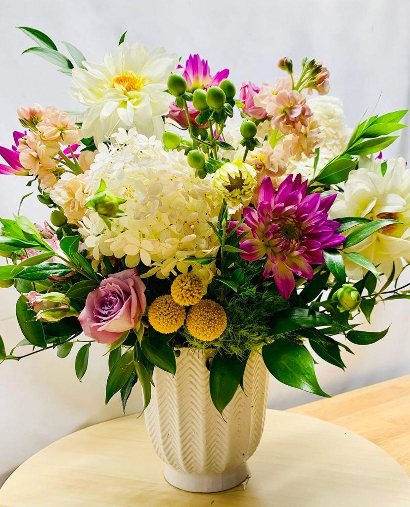 limelight hydrangeas, dahlias, spray roses, stocks